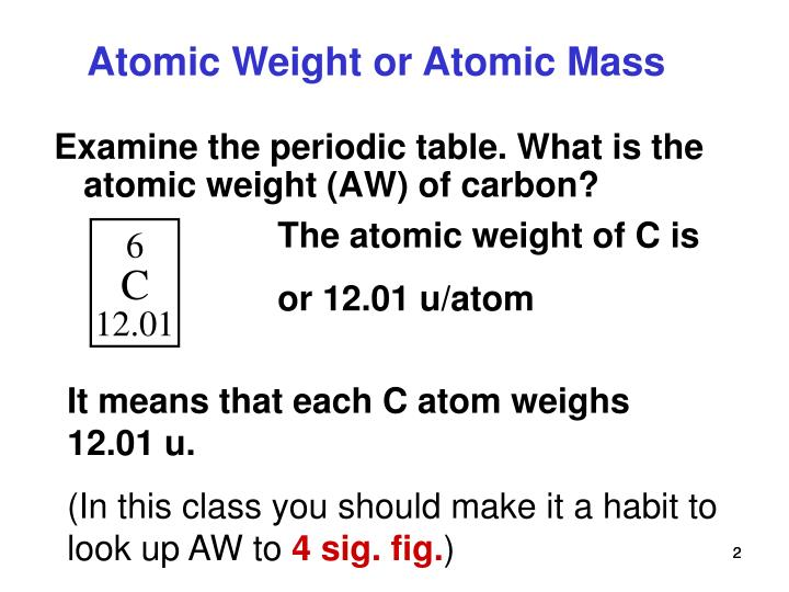 ppt atomic weight molecular weight formula weight and