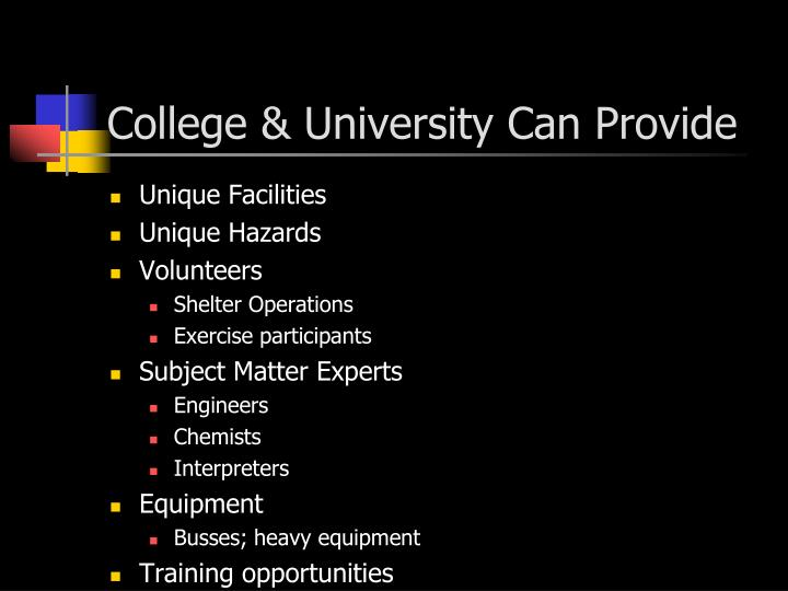 College & University Can Provide