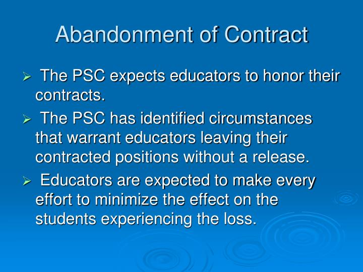 Abandonment of Contract