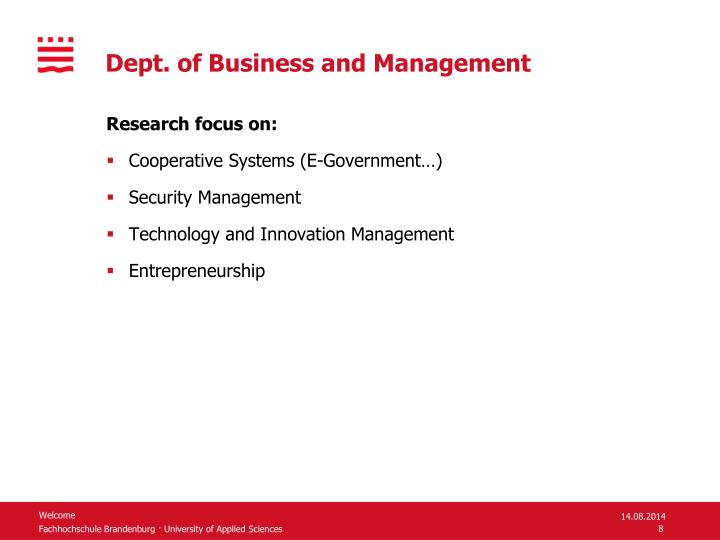 Dept. of Business and Management