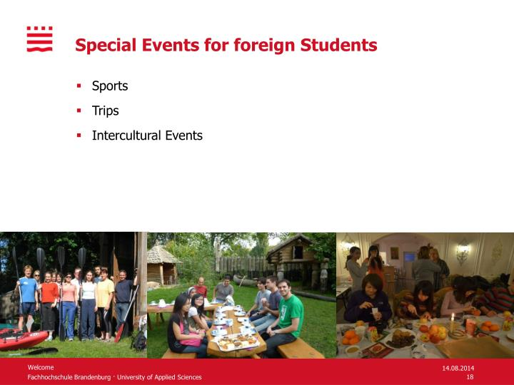 Special Events for foreign Students