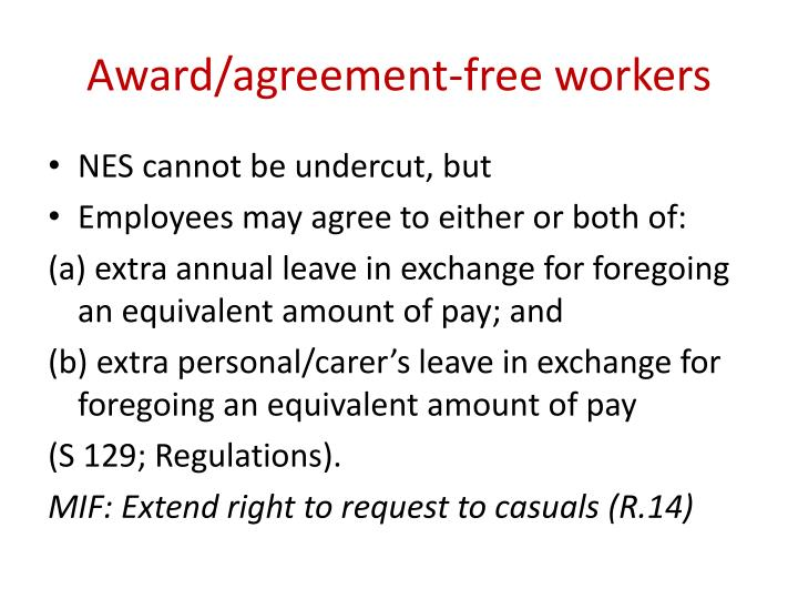 Award/agreement-free workers