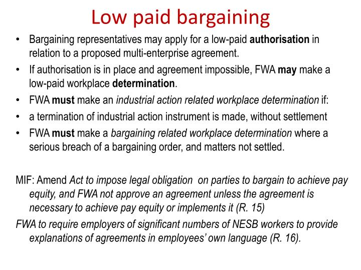 Low paid bargaining