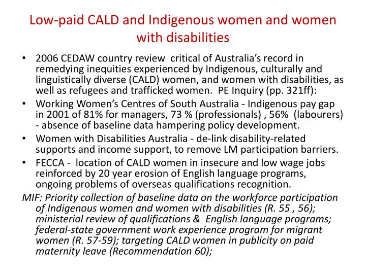 Low-paid CALD and Indigenous women and women with disabilities