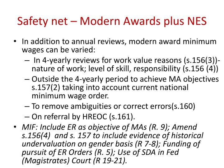 Safety net – Modern Awards plus NES