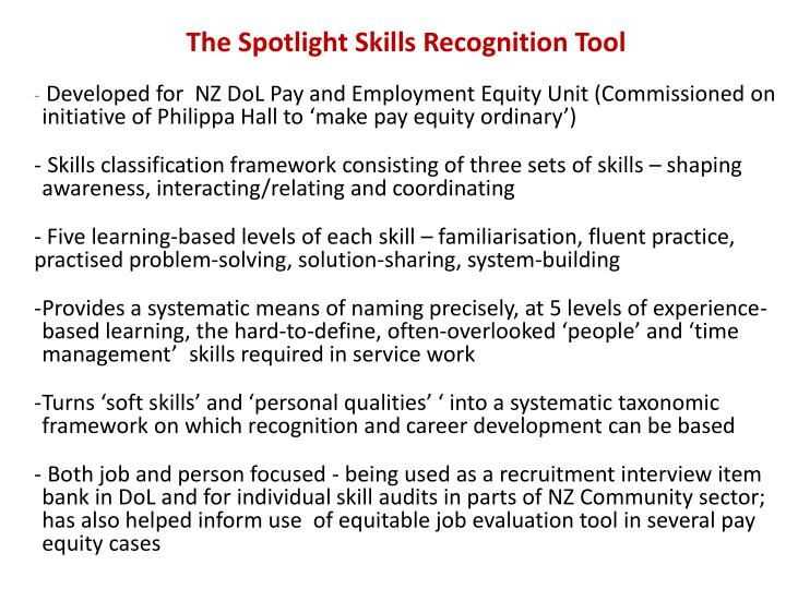 The Spotlight Skills Recognition Tool