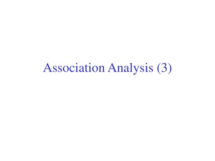 Association analysis 3