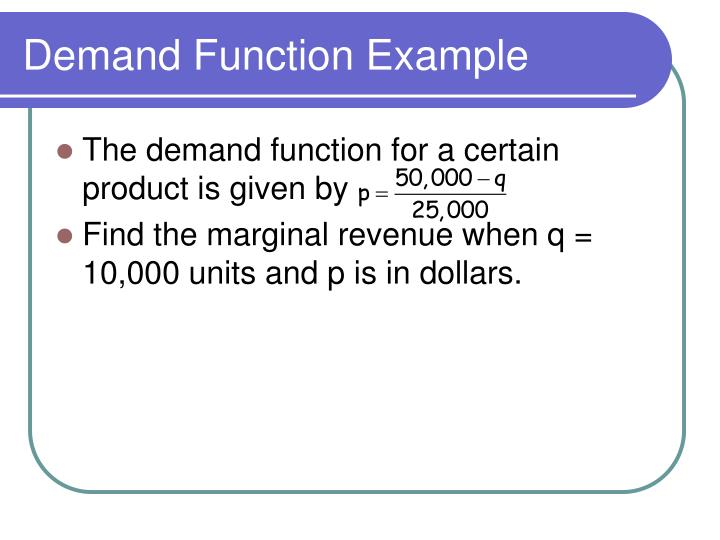 Demand Function Example