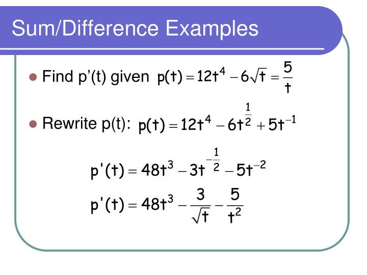 Sum/Difference Examples