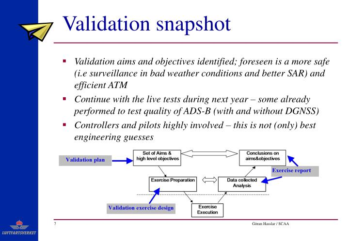 Validation snapshot