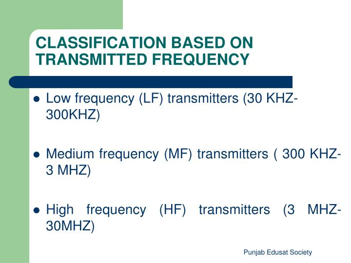 Low frequency (LF) transmitters (30 KHZ- 300KHZ)