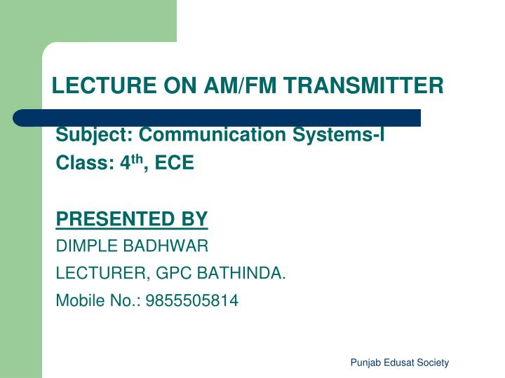 Subject: Communication Systems-I