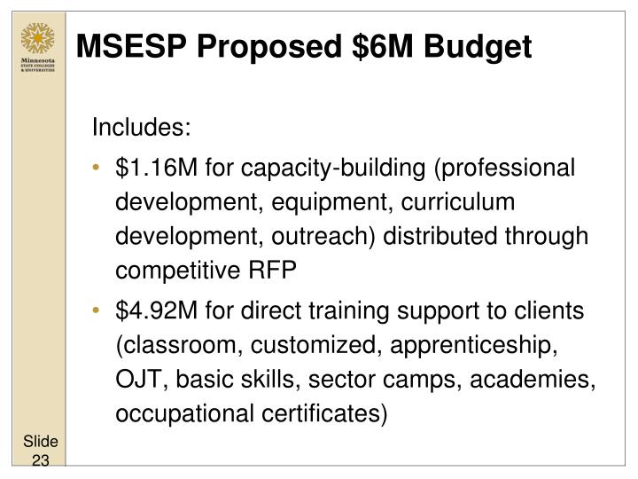 MSESP Proposed $6M Budget
