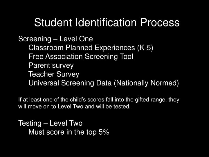 Student Identification Process