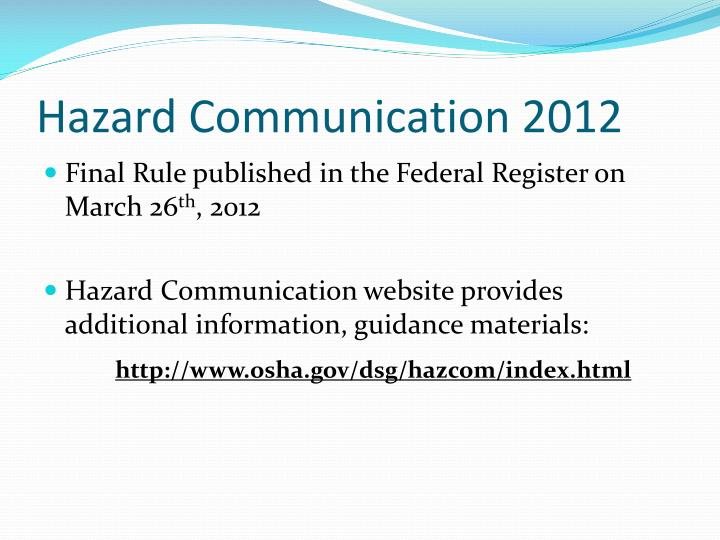 Hazard Communication 2012