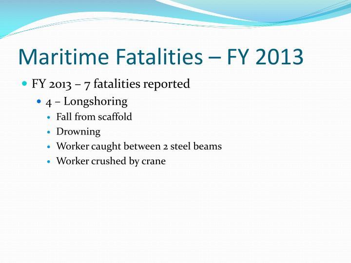 Maritime Fatalities – FY 2013