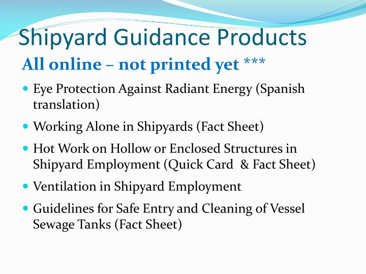 Shipyard Guidance Products