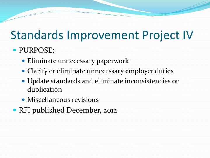 Standards Improvement Project IV