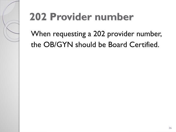 202 Provider number