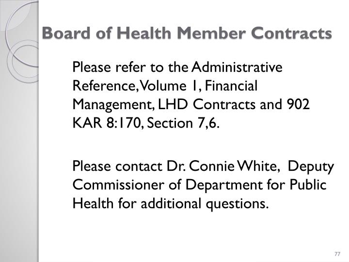 Board of Health Member Contracts