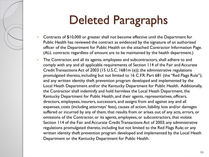 Deleted Paragraphs