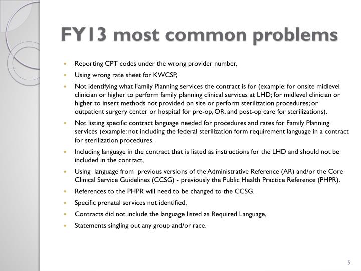 FY13 most common problems