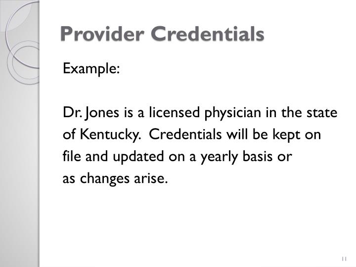 Provider Credentials