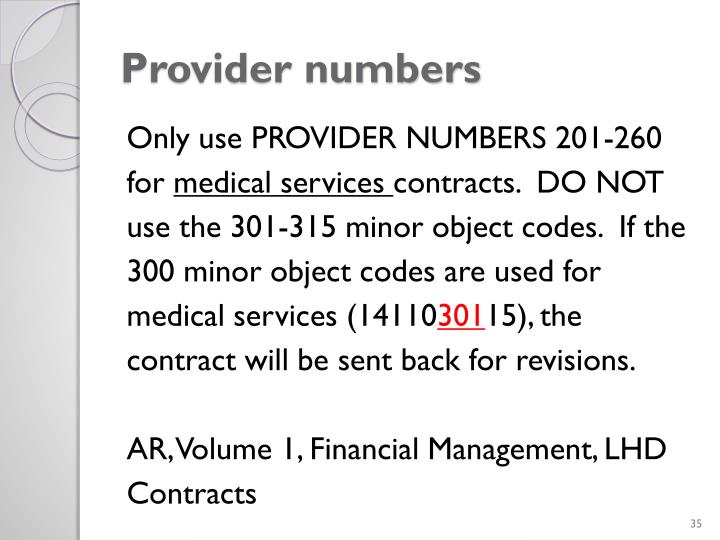 Provider numbers