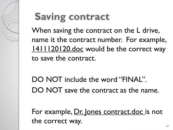 Saving contract
