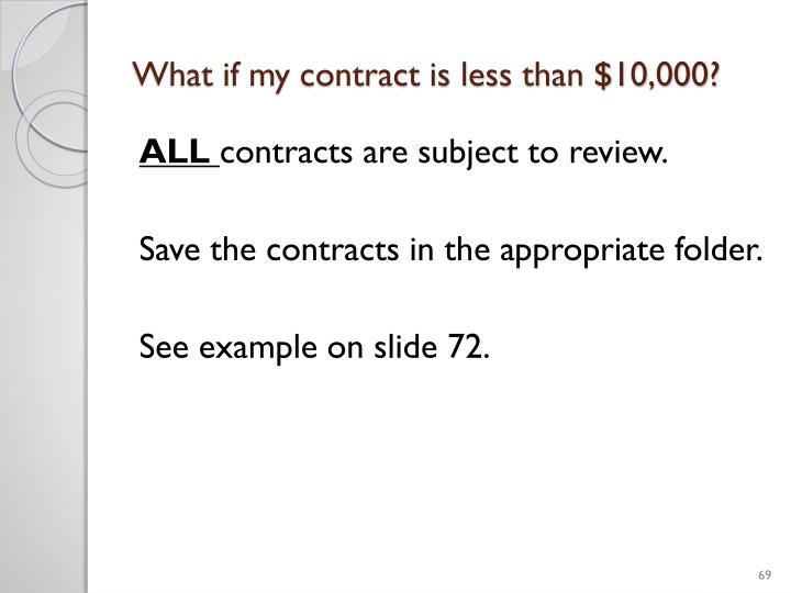 What if my contract is less than $10,000?