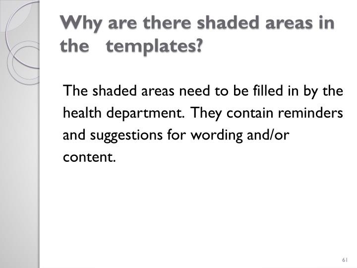 Why are there shaded areas in the   templates?