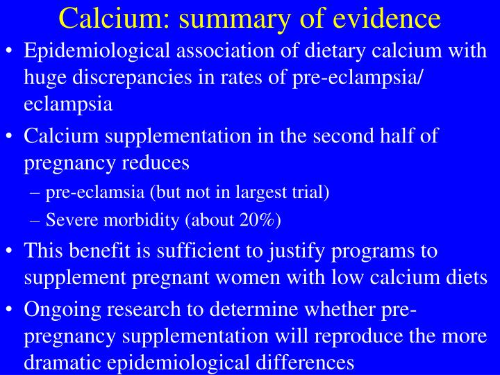Calcium: summary of evidence