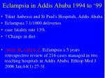 eclampsia in addis ababa 1994 to 99