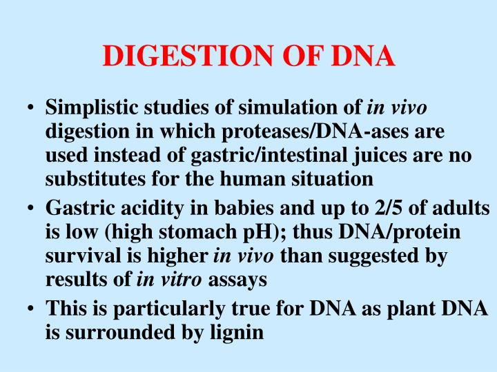 DIGESTION OF DNA