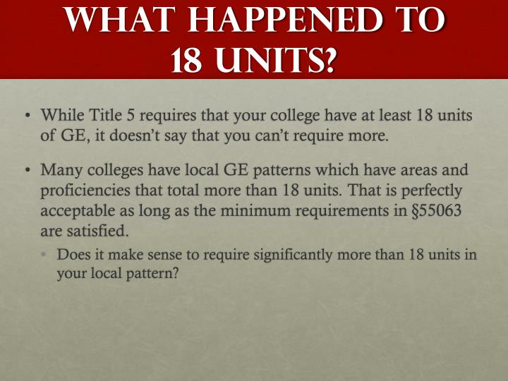 What happened to 18 units?