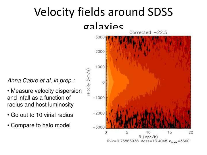 Velocity fields around SDSS galaxies