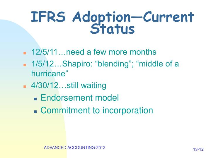 IFRS Adoption—Current Status