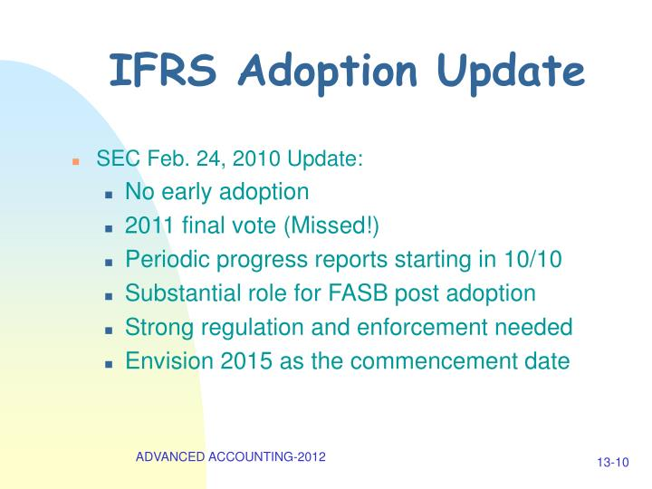 IFRS Adoption Update