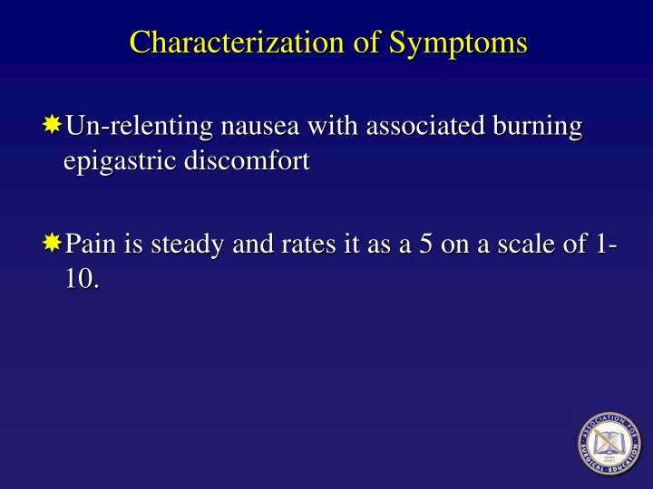 Characterization of Symptoms