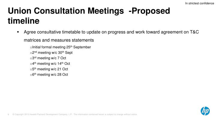 Union Consultation Meetings  -Proposed timeline