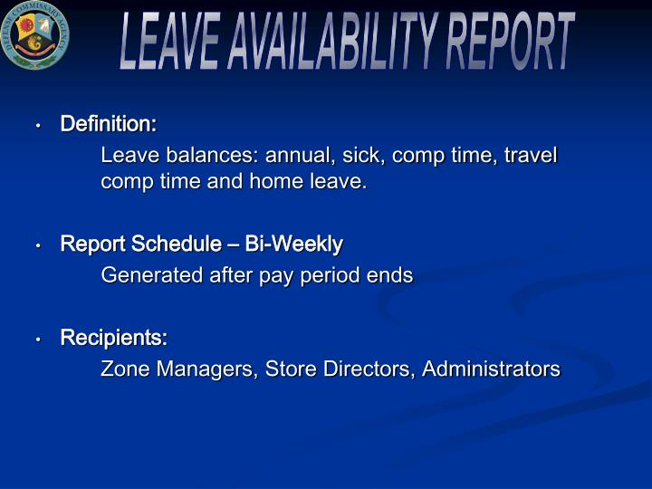 LEAVE AVAILABILITY REPORT
