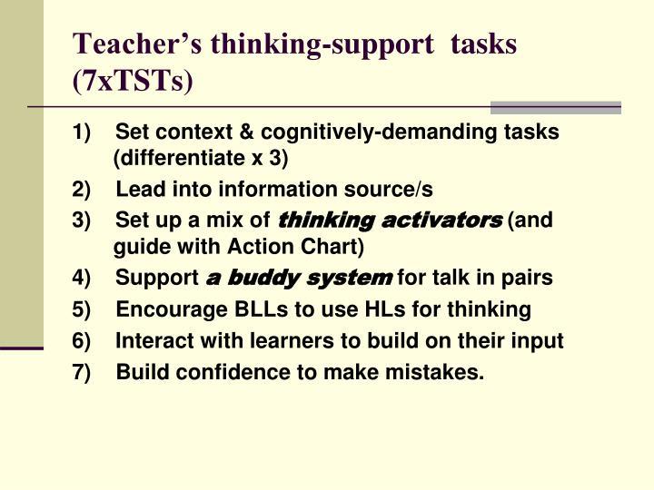 Teacher's thinking-support  tasks (7xTSTs)