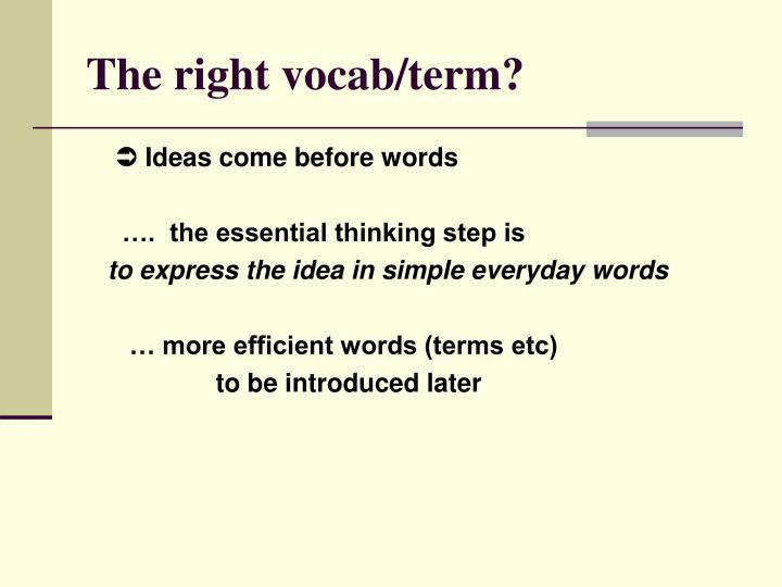 The right vocab/term?