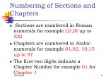 numbering of sections and chapters