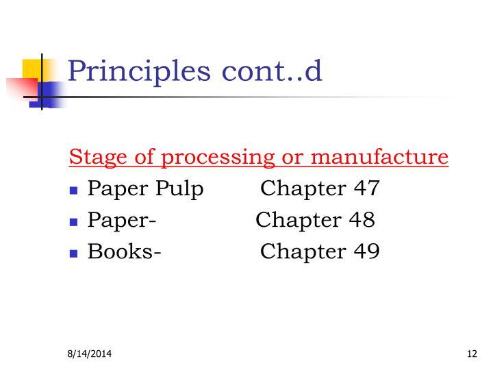 Principles cont..d