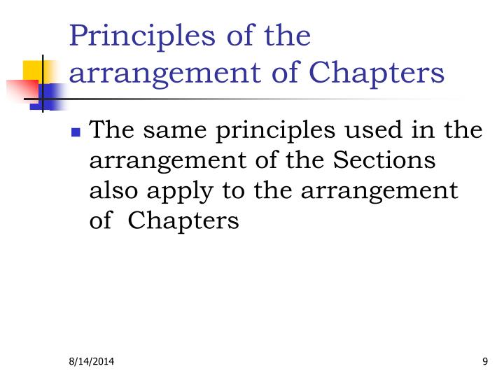 Principles of the arrangement of Chapters