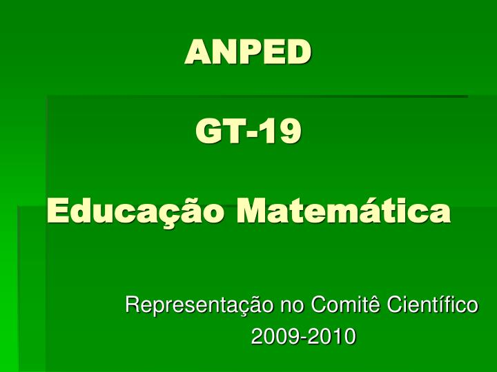 anped gt 19 educa o matem tica