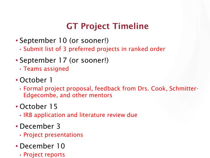 GT Project Timeline