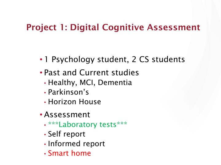 Project 1: Digital Cognitive Assessment
