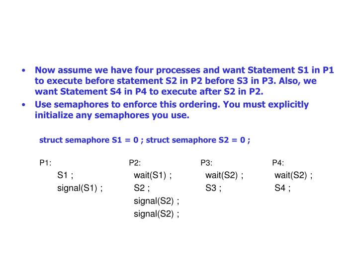 Now assume we have four processes and want Statement S1 in P1 to execute before statement S2 in P2 before S3 in P3. Also, we want Statement S4 in P4 to execute after S2 in P2.
